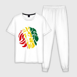Пижама хлопковая мужская Раста лев цвета белый — фото 1