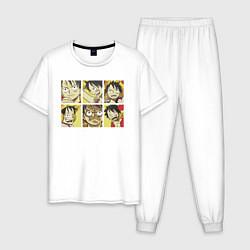 Пижама хлопковая мужская Monkey D Luffy цвета белый — фото 1