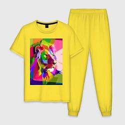 Пижама хлопковая мужская Лев цвета желтый — фото 1