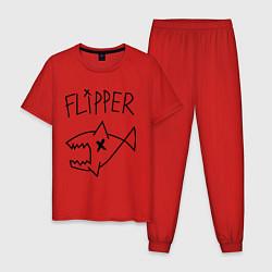 Пижама хлопковая мужская Nirvana Flipper цвета красный — фото 1
