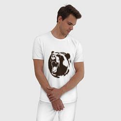 Пижама хлопковая мужская Медведь Z цвета белый — фото 2