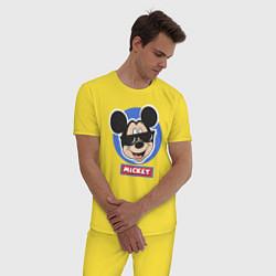 Пижама хлопковая мужская Микки цвета желтый — фото 2