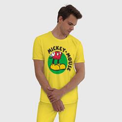 Пижама хлопковая мужская Mickey Mouse цвета желтый — фото 2