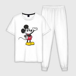 Пижама хлопковая мужская Микки Маус цвета белый — фото 1