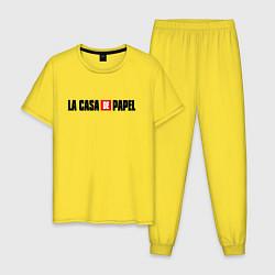 Пижама хлопковая мужская La Casa de Papel Z цвета желтый — фото 1