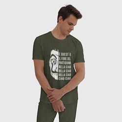 Пижама хлопковая мужская La Casa de Papel Z цвета меланж-хаки — фото 2