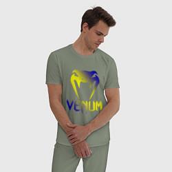 Пижама хлопковая мужская VENUM цвета авокадо — фото 2