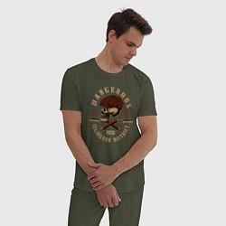 Пижама хлопковая мужская Острые козырьки Череп и бритвы цвета меланж-хаки — фото 2