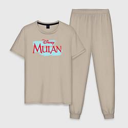 Пижама хлопковая мужская Mulan Disney цвета миндальный — фото 1
