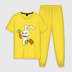 Пижама хлопковая мужская Злой заяц цвета желтый — фото 1