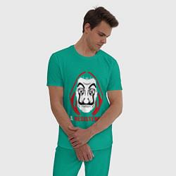 Пижама хлопковая мужская La Resistenicia цвета зеленый — фото 2