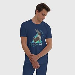 Пижама хлопковая мужская Олень Свен цвета тёмно-синий — фото 2