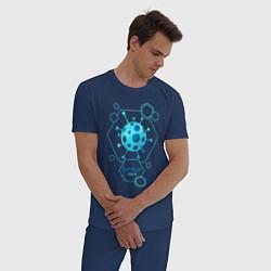 Пижама хлопковая мужская Выживший цвета тёмно-синий — фото 2