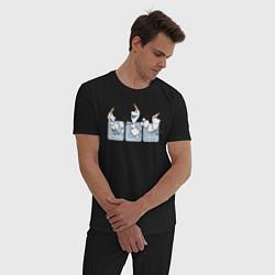 Пижама хлопковая мужская Холодное сердце цвета черный — фото 2