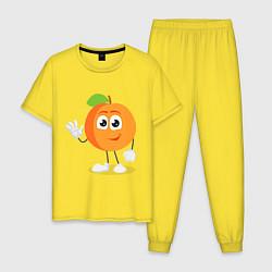 Пижама хлопковая мужская Персик цвета желтый — фото 1