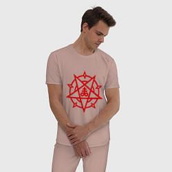 Пижама хлопковая мужская Пентограмма цвета пыльно-розовый — фото 2