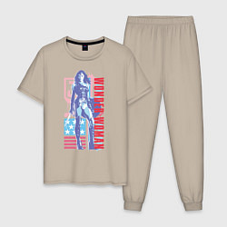 Пижама хлопковая мужская Wonder Woman цвета миндальный — фото 1