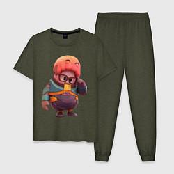 Пижама хлопковая мужская Fall Guys Gordon Freeman цвета меланж-хаки — фото 1