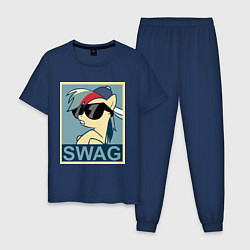 Пижама хлопковая мужская Rainbow Dash swag цвета тёмно-синий — фото 1