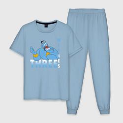 Пижама хлопковая мужская Джинн цвета мягкое небо — фото 1