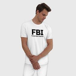 Пижама хлопковая мужская ФБР,Инспектор женского тела цвета белый — фото 2