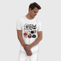 Пижама хлопковая мужская Halloween цвета белый — фото 2