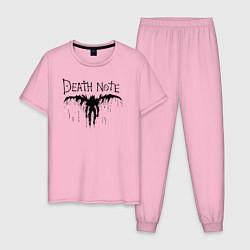 Пижама хлопковая мужская Death Note цвета светло-розовый — фото 1