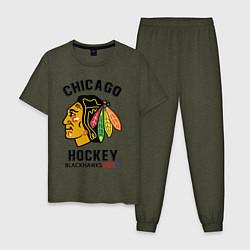 Пижама хлопковая мужская CHICAGO BLACKHAWKS NHL цвета меланж-хаки — фото 1