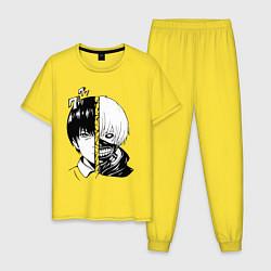 Пижама хлопковая мужская Токийский гуль цвета желтый — фото 1