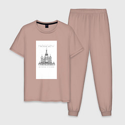 Пижама хлопковая мужская Москва координаты цвета пыльно-розовый — фото 1