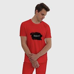 Пижама хлопковая мужская Ночь цвета красный — фото 2