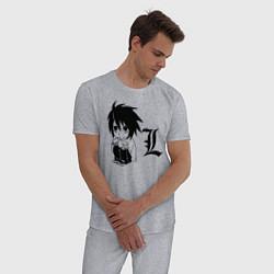 Пижама хлопковая мужская Death Note цвета меланж — фото 2