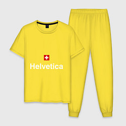 Пижама хлопковая мужская Helvetica Type цвета желтый — фото 1