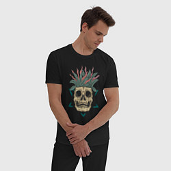 Пижама хлопковая мужская Череп Моргенштерна цвета черный — фото 2