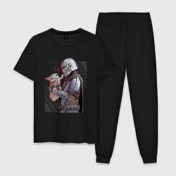 Пижама хлопковая мужская Мандалорец и Дитя цвета черный — фото 1