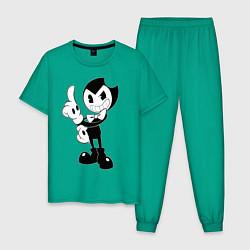 Пижама хлопковая мужская Bendy And The Ink Machine цвета зеленый — фото 1
