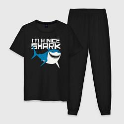 Пижама хлопковая мужская Im A Nice Shark цвета черный — фото 1