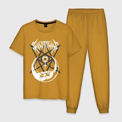 Пижама хлопковая мужская GHOSTEMANE цвета горчичный — фото 1