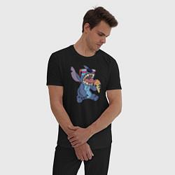 Пижама хлопковая мужская Стич с мороженым цвета черный — фото 2
