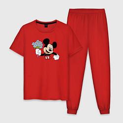 Пижама хлопковая мужская Микки с букетом цвета красный — фото 1