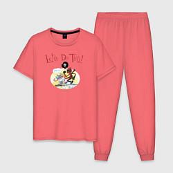 Пижама хлопковая мужская Deadpool цвета коралловый — фото 1