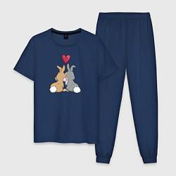 Пижама хлопковая мужская Любовь цвета тёмно-синий — фото 1
