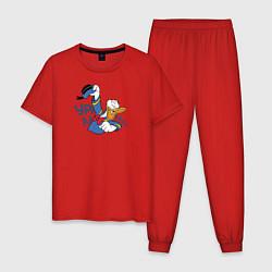 Пижама хлопковая мужская Урааа! цвета красный — фото 1
