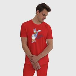 Пижама хлопковая мужская Всегда на высоте цвета красный — фото 2