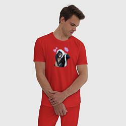 Пижама хлопковая мужская Влюбленный Цветочек цвета красный — фото 2