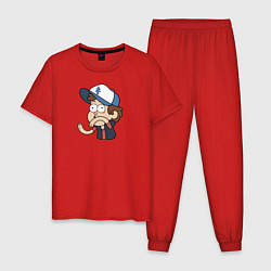 Пижама хлопковая мужская Диппер Пайнс цвета красный — фото 1