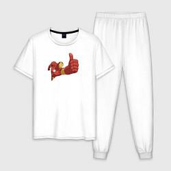 Пижама хлопковая мужская Класс! цвета белый — фото 1