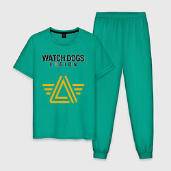 Пижама хлопковая мужская ЧВК Watch Dogs Legion цвета зеленый — фото 1