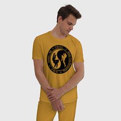 Пижама хлопковая мужская MMA цвета горчичный — фото 2