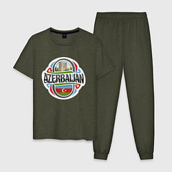 Пижама хлопковая мужская Азербайджан цвета меланж-хаки — фото 1